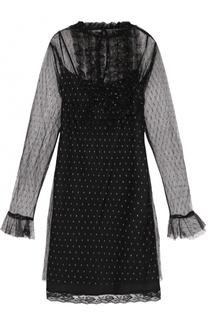 Кружевное мини-платье с оборками Sonia by Sonia Rykiel