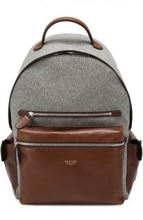 Текстильный рюкзак с отделкой из натуральной кожи Bertoni