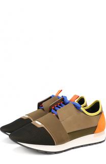 Текстильные кроссовки Race с отделкой из натуральной кожи Balenciaga