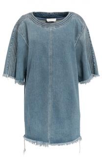 Джинсовое платье прямого кроя с необработанными краями Chloé