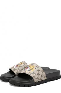Резиновые шлепанцы с принтом Gucci