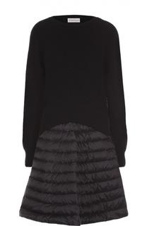 Платье фактурной вязки с утепленной юбкой Moncler