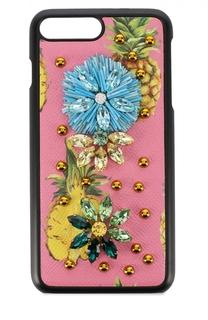 Кожный чехол для iPhone 7 Plus с принтом и декором Dolce & Gabbana