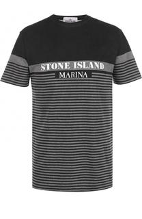 Хлопковая футболка в контрастную полоску Stone Island