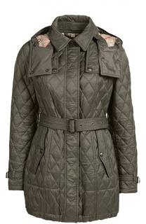Стеганая удлиненная куртка с поясом и капюшоном Burberry