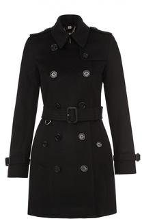Двубортное укороченное пальто с поясом и погонами Burberry