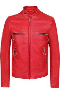 Кожаная куртка на молнии с воротником-стойкой Balenciaga