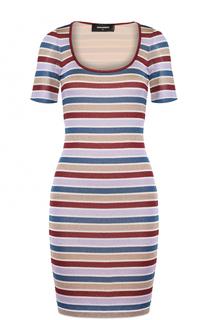 Облегающее мини-платье в полоску с круглым вырезом Dsquared2