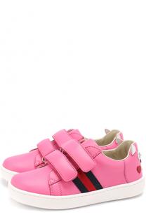 Кожаные кроссовки с застежками велькро и декором Gucci