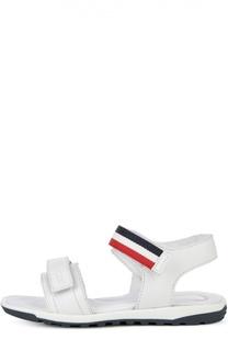 Кожаные сандалии с двойной застежкой велькро Moncler Enfant