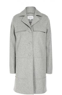Шерстяное пальто прямого кроя с карманами Carven