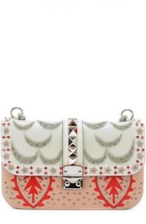 Сумка Glam Lock medium с вышивкой бисером и стразами Valentino
