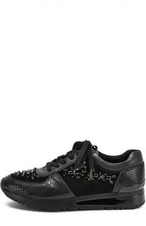 Комбинированные кроссовки с кристаллами MICHAEL Michael Kors