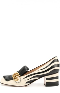 Кожаные туфли Marmont с рисунком под зебру Gucci