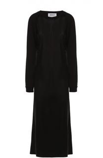 Приталенное платье-макси с длинным рукавом и контрастной надписью DKNY