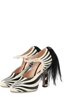 Туфли Lesley с рисунком под зебру с отделкой мехом Gucci