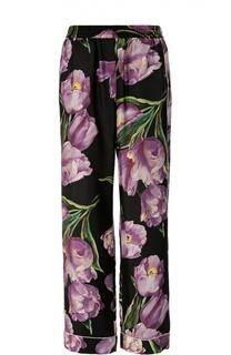 Шелковые брюки с эластичным поясом и цветочным принтом Dolce & Gabbana