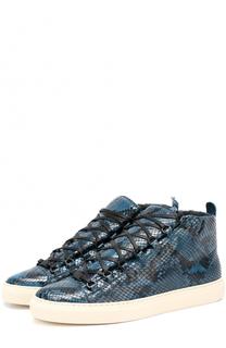 Высокие кожаные кроссовки с тиснением под питона Balenciaga