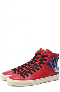 Высокие кожаные кеды на шнуровке с контрастной аппликацией Gucci