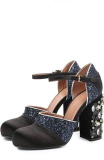 Текстильные босоножки с глиттером на каблуке с кристаллами Marni