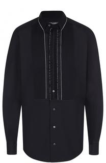 Хлопковая вечерняя сорочка с шелковой отделкой Dolce & Gabbana