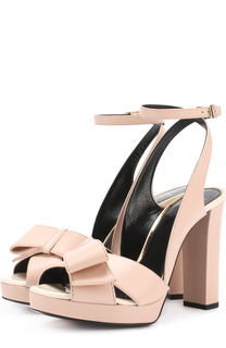 Кожаные босоножки на устойчивом каблуке Lanvin