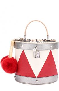 Сумка Dolce Box Drum с помпонами Dolce & Gabbana