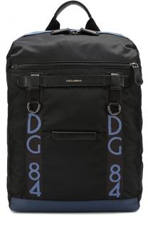 Текстильный рюкзак Mediterraneo с отделкой из натуральной кожи Dolce & Gabbana