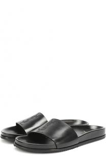 кожаные шлепанцы с логотипом бренда Saint Laurent