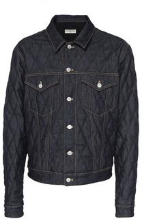 Стеганая джинсовая куртка с контрастной прострочкой Balenciaga