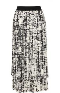 Плиссированная двухъярусная юбка с контрастным принтом Escada Sport