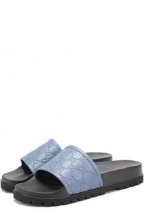 Кожаные шлепанцы Pursuit Treck на резиновой подошве Gucci