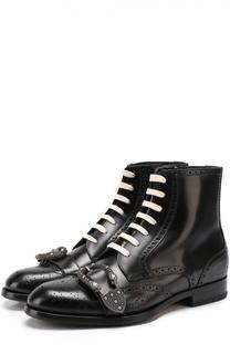 Высокие кожаные ботинки Queercore с брогированием и декоративной пряжкой Gucci