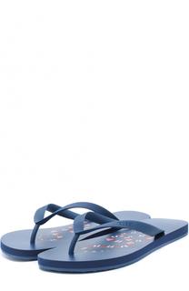 Резиновые шлепанцы на подошве с принтом Gucci