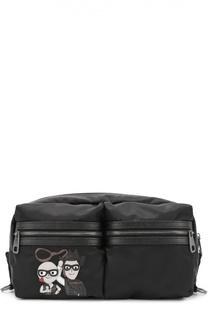 Поясная сумка Vulcano с аппликацией и отделкой из натуральной кожи Dolce & Gabbana