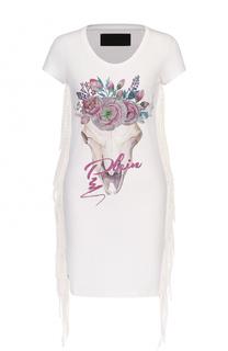 Мини-платье с контрастным принтом и бахромой Philipp Plein