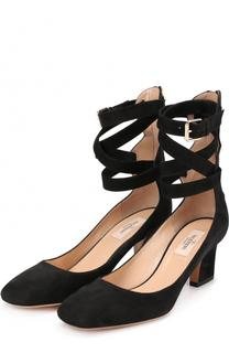 Замшевые туфли Plum с ремешками на щиколотке Valentino
