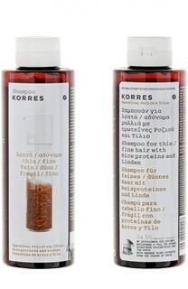 Шампунь для тонких ломких волос Shampoo Rice Proteins & Linden Korres