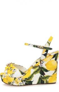 Парчовые босоножки на танкетке с принтом Dolce & Gabbana