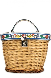 Плетеная сумка с отделкой из кожи с принтом Dolce & Gabbana