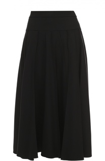 Шерстяная юбка-миди со складками Escada