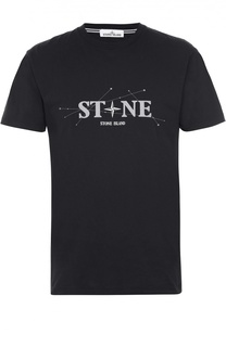Хлопковая футболка с надписью Stone Island
