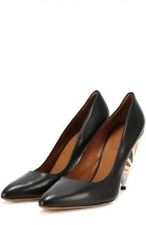 Кожаные туфли на декорированном каблуке Givenchy
