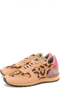Комбинированные кроссовки с рисунком под леопарда Valentino