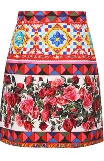 Хлопковая мини-юбка с ярким принтом Dolce & Gabbana
