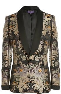 Приталенный шелковый жакет с цветочным принтом Ralph Lauren