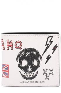 Кожаное портмоне с принтом и отделением для кредитных карт Alexander McQueen