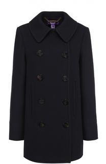 Двубортное пальто прямого кроя с отложным воротником Ralph Lauren