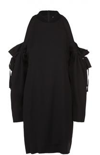 Платье прямого кроя с открытыми плечами и бантами DKNY