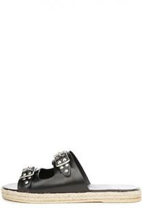 Кожаные шлепанцы Espadrille с заклепками Saint Laurent